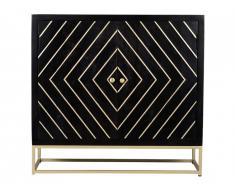 Buffet art déco PRISMIN - 2 portes - Bois de manguier et métal - Anthracite et doré