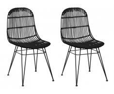 Lot de 2 chaises NASURA - Rotin - Noir