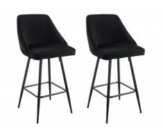 Lot de 2 tabourets de bar BELIZE - Velours - Noir