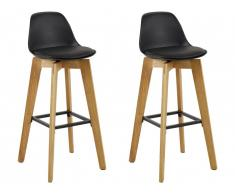 Lot de 2 tabouret de bar PADDY - Polypropylène, simili & chêne - Noir