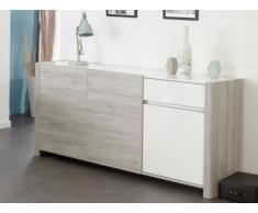 Buffet LAYANA - 3 portes & 1 tiroir - avec leds - Naturel & blanc