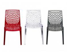 Lot de 2 chaises empilables DIADEME - Polycarbonate plein - Cristal