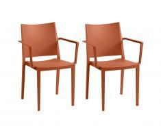 Lot de 2 chaise empilables avec accoudoirs TOXA - Polypropylène - Terracotta