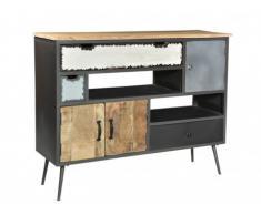 Buffet CHAPLIN - 3 portes & 3 tiroirs - Bois de manguier & métal