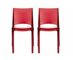 Lot de 2 chaises empilables HELLY - Polycarbonate plein - Rouge vermillon
