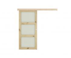 Porte coulissante en applique avec 3 fenêtres ACOSTA - H205 x L93 cm - MDF nature