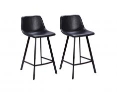 Lot de 2 Tabourets de bar MADERE - Simili - Noir