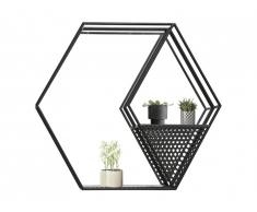 Miroir hexagonal OCEANE - Fer -60 x 52 cm - Noir