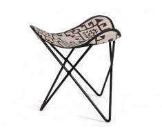 Repose-pieds Butterfly MOKOROA - 100% coton - à motifs - Noir et Blanc