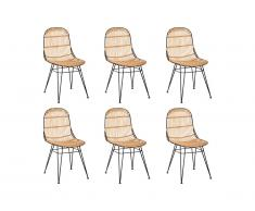 Lot de 6 chaises NASURA - Rotin - Naturel