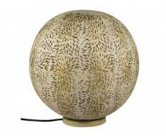 Lampe boule à poser ajourée style ethnique TUVAS - Fer - D. 30 cm - Doré