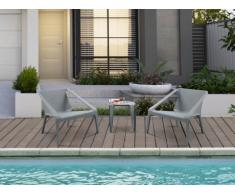Salon de jardin HIRO : 2 fauteuils et une table basse - Gris