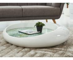 Table basse EMERALD - Verre trempé & fibre de verre - Blanc laqué avec motif tropical