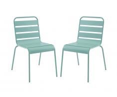 Lot de 2 chaises de jardin empilables MIRMANDE en métal - Vert amande