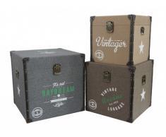 Set de 3 malles carrées imprimé vintage ELAINE - Beige, marron et gris - L. 47.5 / 41 / 35 cm