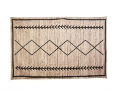 Tapis style ethnique BANGALORE - 100% Jute - 120 x 170 cm - Naturel et noir