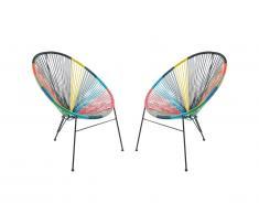 Lot de 2 chaises de jardin ALIOS II en fils de résine tressés - Multicolore II