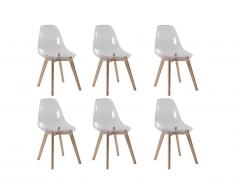 Lot de 6 chaises AUDRA - Polycarbonate et Hêtre - Transparent