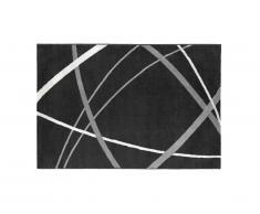 Tapis style design LINIA - 200 x 290 cm - noir, gris et blanc