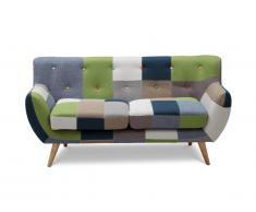 Canapé 2 places SERTI - Tissu patchwork nuances vert/bleu