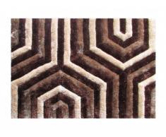 Tapis shaggy effet 3D GRANSA - 100% Polyester - marron - 160 x 230 cm