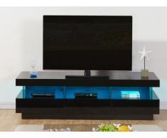 Meuble TV FABIO - MDF laqué noir - LEDs - 3 tiroirs & 3 niches
