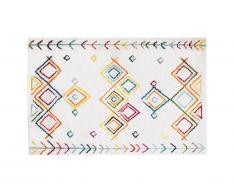 Tapis style berbère ANGKOR - 160 x 230 cm - Beige et motifs multicolores