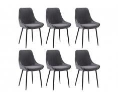 Lot de 6 chaises MASURIE - Velours - Gris