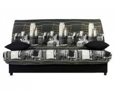 Canapé clic clac en tissu SALOON avec coffre de rangement - Imprimé NEW YORK