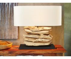 Lampe à poser RONDIN en bois flotté et lin - H.50 cm