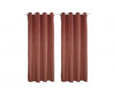 Lot de 2 rideaux LUXE - velours de polyester - 140x260 cm - Rose
