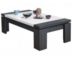 Table basse CALYPSO - Coloris : Blanc laqué & Wengé