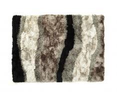 Tapis shaggy ECUME - polyester tufté main - Taupe, blanc et noir - 200*290cm