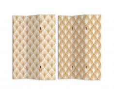 Paravent imprimé 3 pans art déco LUXOR - MDF - H. 180 x L. 120 cm - doré