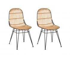 Lot de 2 chaises NASURA - Rotin - Naturel
