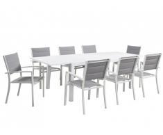 Salle à manger de jardin extensible ALERON en aluminium: une table L160/240cm et 8 fauteuils empilables