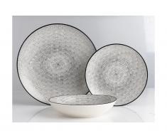 Service vaisselle SIA en porcelaine fine OSIS - 18 pièces - blanc et motifs noirs