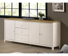Buffet NEWPORT - 3 portes & 3 tiroirs - Pin -Blanc et chêne