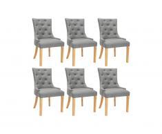Lot de 6 chaises JOLIA - Tissu et pieds bois - Gris