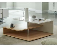 Table basse TYBEN - MDF laqué - Chêne et Blanc