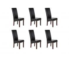 Lot de 6 chaises ROVIGO - Simili marron brillant - Pieds bois foncé