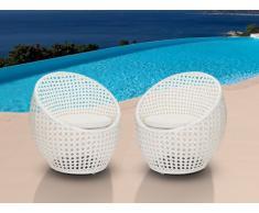 Lot de 2 chaises de jardin CAZAS en résine tressée - blanc