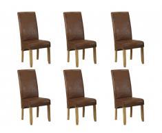 Lot de 6 chaises SANTOS - Microfibre aspect cuir vieilli - Pieds bois clair