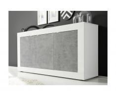 Buffet COMETE - 3 portes - Blanc laqué et béton