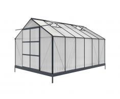 Serre de Jardin en polycarbonate de 13m² KALIDA avec embase - anthracite