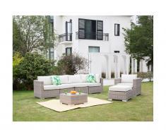 Salon de jardin modulable BUSAN en résine tressée: canapé panoramique 4 places, un fauteuil, un pouf et une table basse