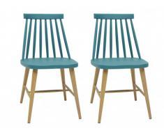 Lot de 2 chaises DAGMAR - Polypropylène - Bleu - Pieds couleur chêne
