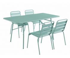 Salle à manger de jardin MIRMANDE en métal - une table L.160 cm et 4 chaises empilables - Vert amande