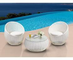 Salon de jardin CAZAS en résine tressée - blanc : 2 chaises et une table