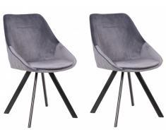 Lot de 2 chaises VIENNA - Velours & Métal - Gris